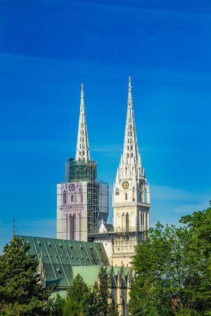 Zagreb, capital of Croatia, catholic cathedral hidden among trees