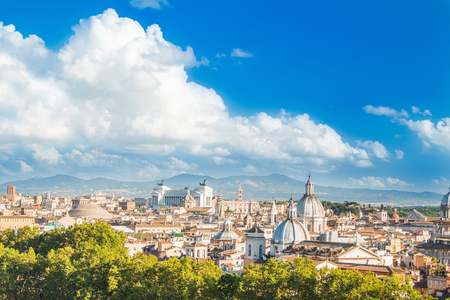panoramic view of Rome from Castel SantAngelo, Italy Imagens