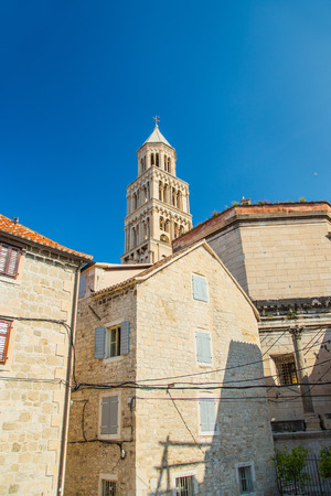 Split, Croatia . Old town houses and tower of cathedral in roman emperor Diocletian palace