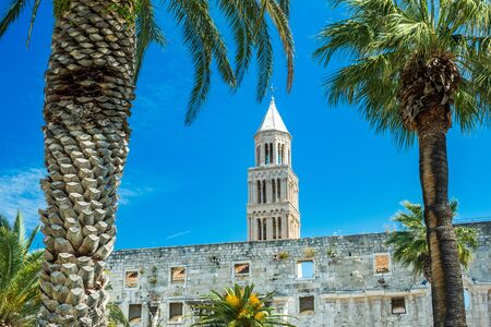 Split, Croatia, walls of palace of Roman emperor Diocletian from 3rd century,  tower of cathedral in background