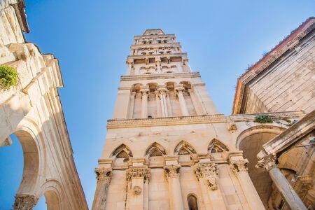 Split, Dalmatia, Croatia, cathedral of Saint Domnius in Palace of Roman Emperor Diocletian, historic Peristyle,wide angle