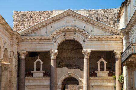 Croatia, Split, Peristyle square inside palace of Roman Emperor Diocletian, popular tourist site Stock Photo