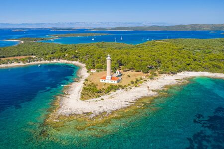 Aerial view of lighthouse of Veli Rat on the island of Dugi Otok, Croatia, beautiful seascape Imagens