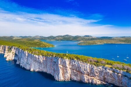Big cliffs above the sea on the shore of nature park Telascica, island of Dugi Otok, Croatia, spectacular seascape