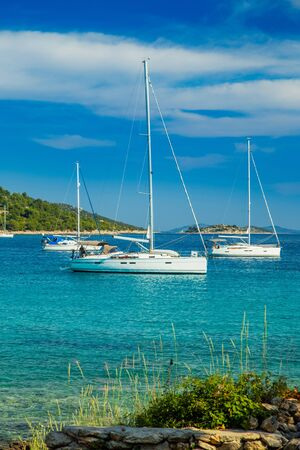 Scenic view of Kosirina beach bay on Murter island in Croatia, anchored sailing boats and yachts on blue sea, view through the pines Reklamní fotografie