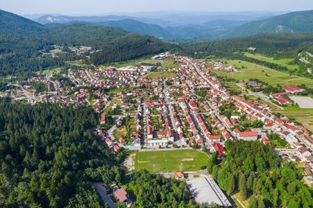 Croatia, town of Delnice in Gorski kotar, panoramic view of town center from drone in summer