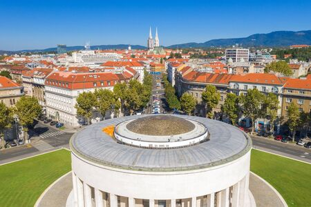 Zagreb, capital of Croatia, city center aerial view from drone, cathedral and monumental art gallery