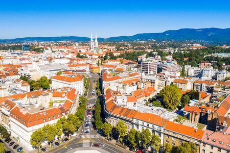 Zagreb, capital of Croatia, city center and cathedral aerial view from drone