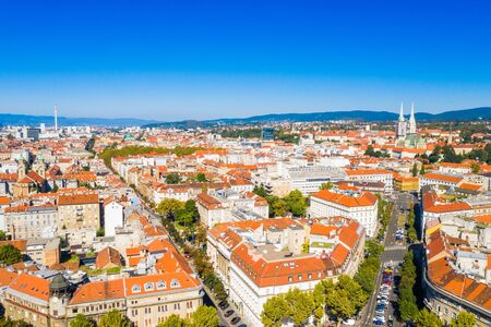 Zagreb, capital of Croatia, old city center down town aerial view from drone