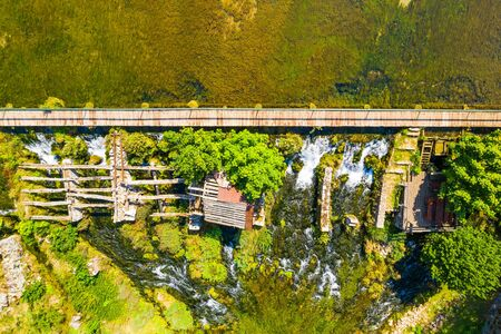 Tonkovic vrilo, river source of Gacka aerial view, Lika region of Croatia