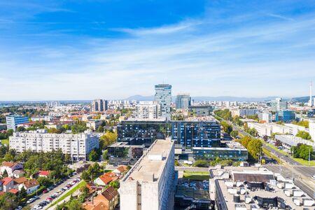 Croatia, city of Zagreb, panoramic view of business center and modern towers, Vukovarska street, urban skyline from drone