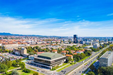 Croatia, city of Zagreb, panoramic view of business center in Vukovarska street and urban skyline from drone