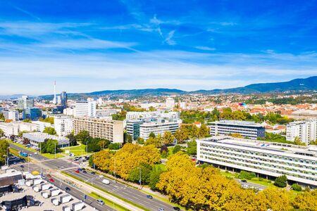 Zagreb, Croatia, aerial shot of Vukovarska street and city hall in autumn from drone