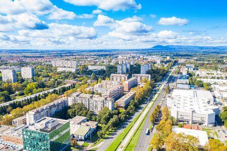 Zagreb, Croatia, aerial shot of Avenue Dubrovnik in Novi Zagreb neighbourhgood in autumn from drone