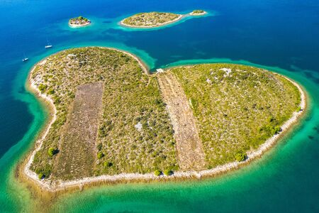 Panoramic view of the amazing heart shaped island of Galesnjak near Zadar in Dalmatia, Croatia