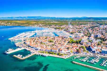 Croatia, town of Biograd na Moru, aerial view of marina and historic town center