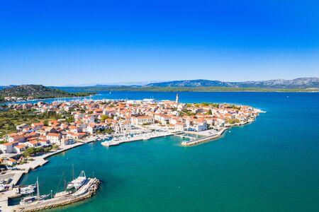 Beautiful Croatian coast, Murter island archipelago and town of Betina from air, Dalmatia Croatia