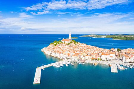 Croatia, Istria, beautiful old town of Rovinj, aerial coastline from drone