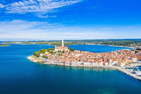 Croatia, Istria, beautiful old town of Rovinj, aerial coastline from drone Reklamní fotografie