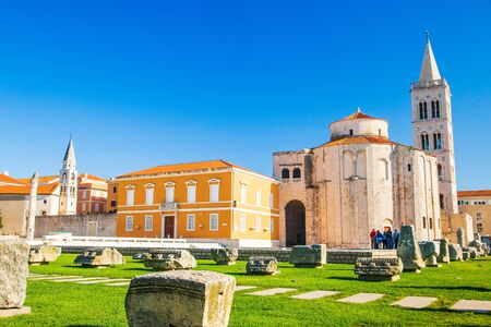 Croatia, city of Zadar, st. Donat church, old Roman forum ruins and Cathedral of St. Anastasia bell tower