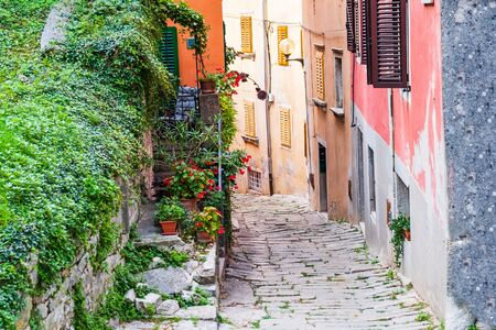 Croatia, Istria, beautiful old cobbled street and traditional houses in the old historical town of Labin