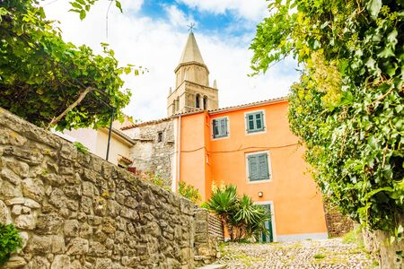 Croatia, Istria, beautiful old Nativity of the Blessed Virgin Mary church in the center of old historical town of Labin