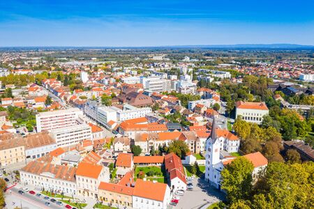 Croatia, town of Sisak, panoramic view of the old town center and cathedral tower Stock fotó
