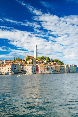 Croatia, Istria, beautiful old town of Rovinj on Adriatic sea coastline, seascape view Stock fotó