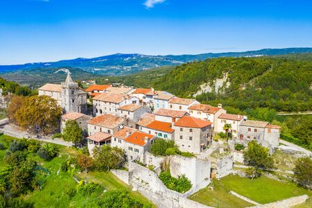 Beautiful old town of Hum on the hill in Istria, Croatia, aerial view from drone