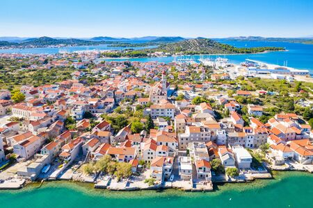 Adriatic coast, Murter island and town of Betina from air, Dalmatia, Croatia, beautiful landscape