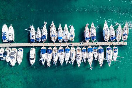 Aerial overhead view of yachts in marina in town of Vodice, Adriatic sea in Croatia