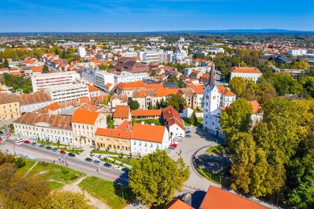 Croatia, town of Sisak, aerial view from drone of the old town center and cathedral tower