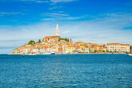 Croatia, Istria, beautiful old town of Rovinj on Adriatic sea coastline