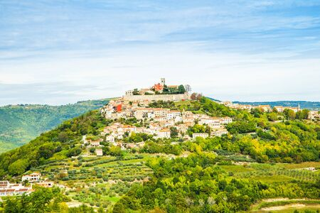 Old town of Motovun on the hill, beautiful architecture in Istria, Croatia