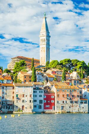 Croatia, Istria, old houses on the peninsula in beautiful old town of Rovinj on Adriatic sea coastline, seascape view