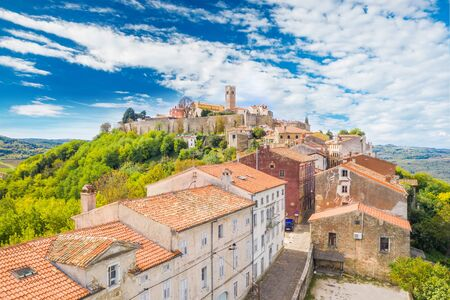 Old town of Motovun on the hill, beautiful architecture in Istria, Croatia, aerial view from drone Reklamní fotografie