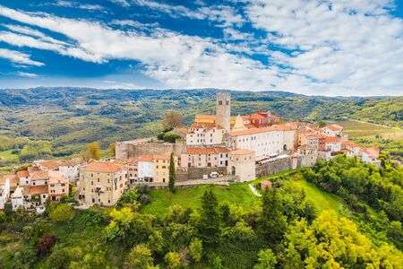 Croatia, Istria, aerial view of the old town of Motovun