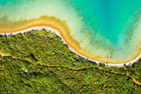 Adriatic coast in Croatia, pine forest and blue lagoon on Dugi Otok