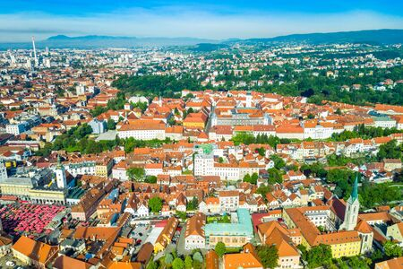 Aerial view of Zagreb, capital of Croatia, city center and Upper town, urban landscape