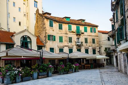 Croatia, old city of Split, cafes and shops on the Fruit Square in the Old Town, early morning