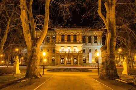 Croatia, city of Zagreb, academy palace building in the night, long exposure Editorial