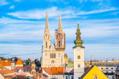 Croatia, Zagreb, skyline of city center and cathedral from Upper Town