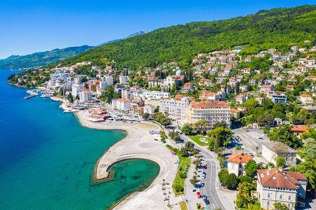 Croatia, town of Opatija, popular tourist resort, Slatina beach, aerial panoramic view