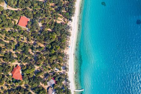 Croatia, island of Pag, beautiful tourist resorts, beach under pine trees, turquoise water of Adriatic Sea on sunny summer day.