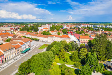 Aerial view of the town of Koprivnica in Croatia, main square architecture