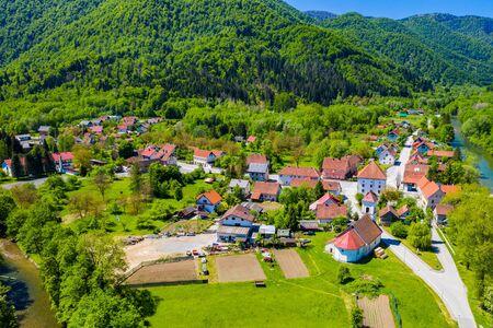 Croatia, beautiful small town of Brod na Kupi in canyon of Kupa river in Gorski kotar Stock fotó - 150294016