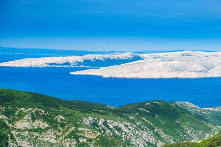 Croatia, Adriatic seascae, panorama of rocky desert of islands from Vratnik mountain