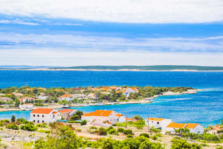 Croatia, village of Simuni on the island of Pag, panoramic view of beautiful Adriatic seascape and marina 스톡 콘텐츠