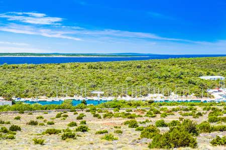 Croatia, marina in village of Simuni on the island of Pag, panoramic view