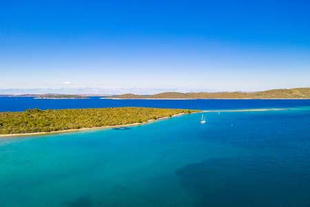 Beautiful seascape on Adriatic sea, islands in turquoise water on the island of Dugi Otok in Croatia Stock fotó